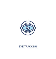 Eye tracking concept 2 colored icon simple line vector