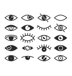 eye vision and view signs open and vector image