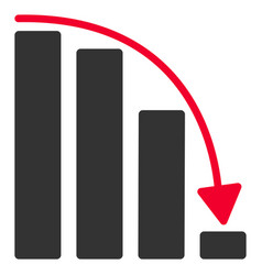 Falling acceleration bar chart flat icon vector