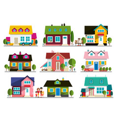 family house icon home symbol buildings set vector image