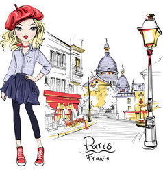 Fashion girl in paris vector