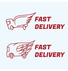 Fast delivery icons truck van with wing vector image