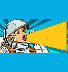 female astronaut is calling for a sale vector image