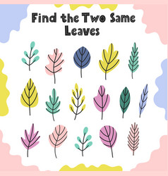 find same leaves activity game for kids vector image