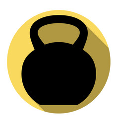 fitness dumbbell sign flat black icon vector image