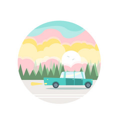 flat of a blue car in woody landscape vector image