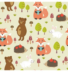 Forest seamless pattern in childish style vector