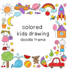 frame with colored kids drawing vector image