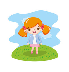 Girl child with two tails in the landscape vector