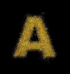Gold dust font type letter a vector
