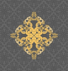 Gold floral on a gray vector