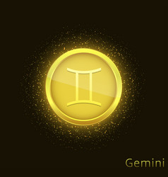 Golden gemini sign vector