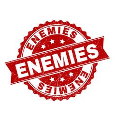 Grunge textured enemies stamp seal vector