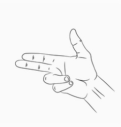 hand gun or pistol gesture hand drawn sketch vector image