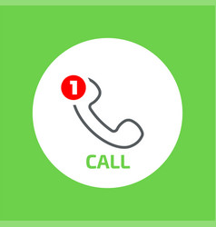 Handset flat icon with missed call counter vector