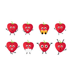 Happy strawberry cartoon character vector