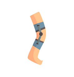 Injured leg bandaged with blue plaster cartoon vector