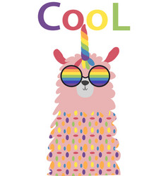 Lama in scandinavian style fashionable cool vector