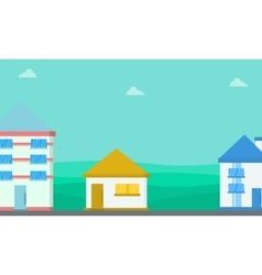 Lined house landscape flat vector