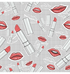 Lips and lipsticks beauty seamless pattern vector