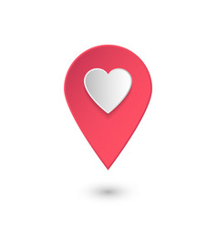 Location icon with heart pink 3d pointer vector