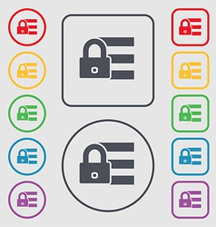Lock login icon sign symbol on the Round and vector