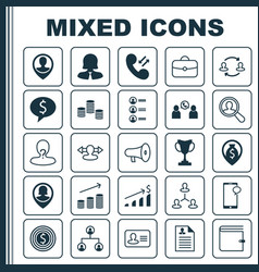 management icons set collection of wallet vector image