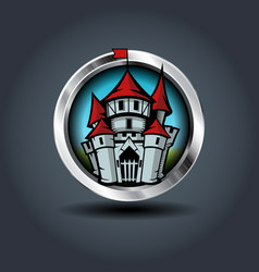 Medieval cartoon castle steely rounded badge icon vector