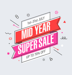 Mid year super sale banner template in flat vector
