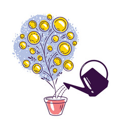 Money tree watering can business investments vector