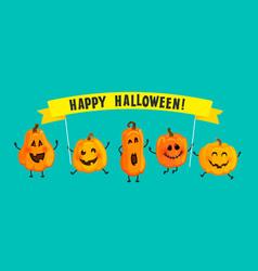 monster pumpkins with halloween banner vector image