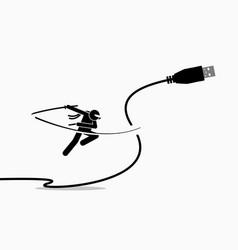 Ninja cuts usb cable plug artwork depicts the vector