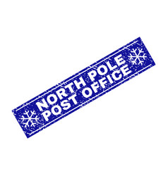north pole post office scratched rectangle stamp vector image