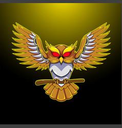 owl esport mascot logo desain vector image