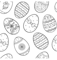 pattern with handdrawn easter eggs vector image