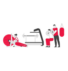 People fitness training in gym with coach help vector