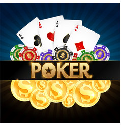 playing cards poker chips and gold coins vector image