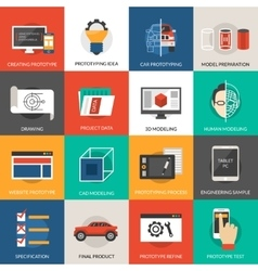 Prototyping And Modeling Icons Set vector image