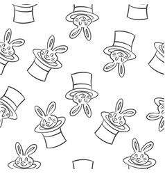 rabbit circus style doodles collection vector image