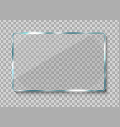 Realistic glass banner clear glass frame vector