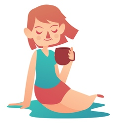 Relaxing Girl Holding a Mug vector image