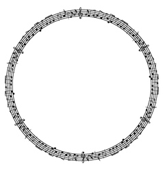 Round musical notes frame vector
