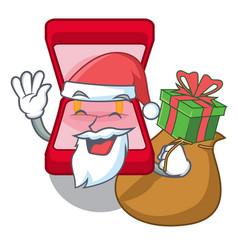Santa with gift wedding ring box in character bag vector