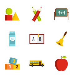 School icons set flat style vector