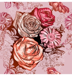 Seamless Floral Pattern with Roses and Chamomile vector image