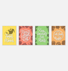 Set 4 advertising and inspirational healthy vector