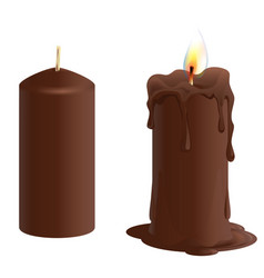 Set brown chocolate candle candle burns and melts vector