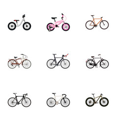 Set of bike realistic symbols with balance wooden vector