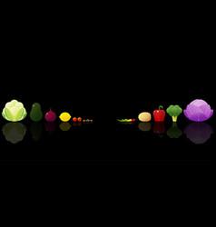 set of fresh vegetables on dark background vector image
