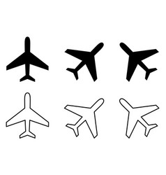 simple airplane icon filled stroke and rotated vector image